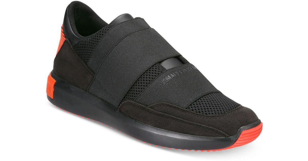 29411c972639 Armani Exchange Men s Colorblock Strap Slip-on Sneakers in Black for Men -  Lyst