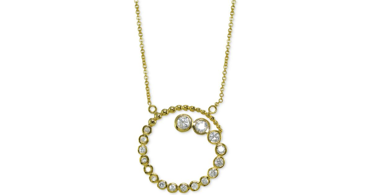 Lyst giani bernini cubic zirconia spiral journey pendant necklace lyst giani bernini cubic zirconia spiral journey pendant necklace 18k gold plated sterling silver created for macys in metallic aloadofball Images