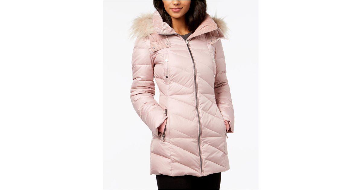 b94af752b Marc New York - Pink Faux-fur-trim Puffer Coat - Lyst