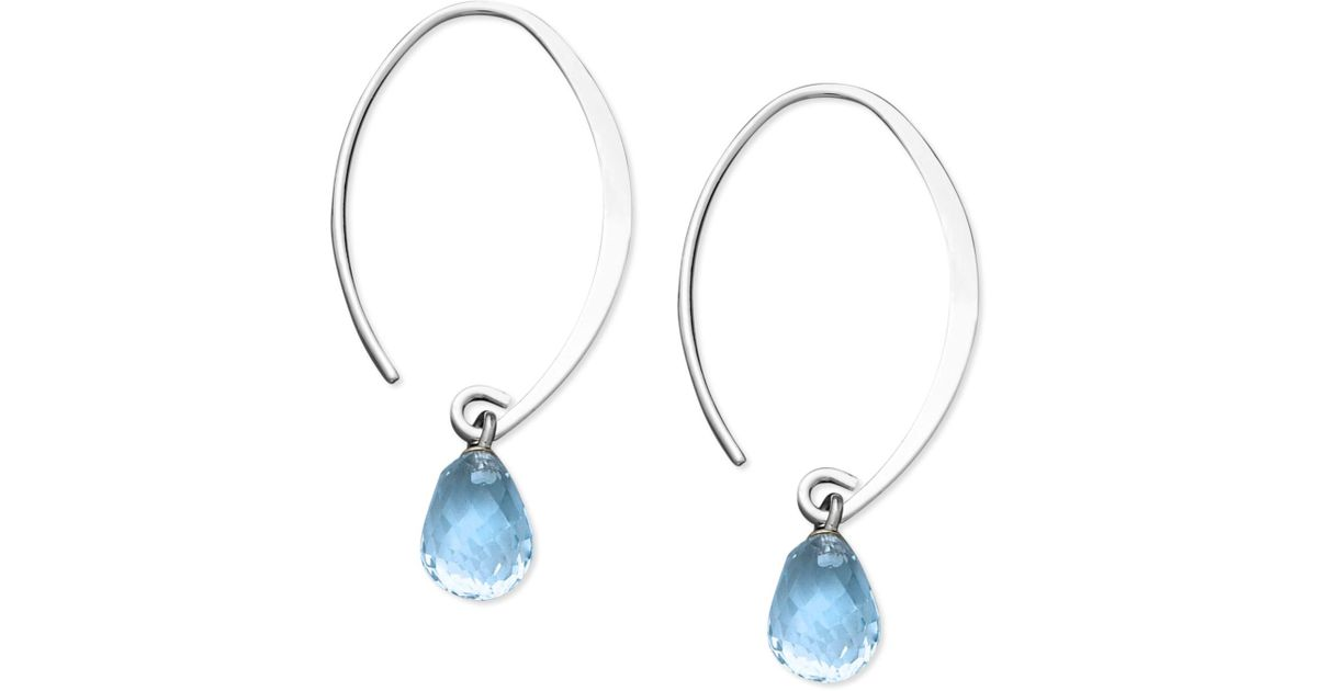 Lyst Macy S Blue Topaz Briolette Earrings 8 Ct T W In 14k White Gold