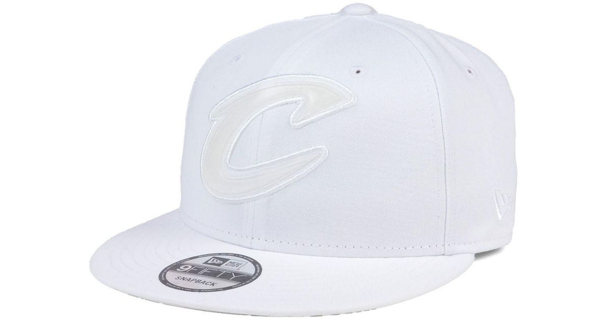 new product c7e58 50ad2 ... new zealand lyst ktz cleveland cavaliers so icey 9fifty snapback cap in  white for men 8e827