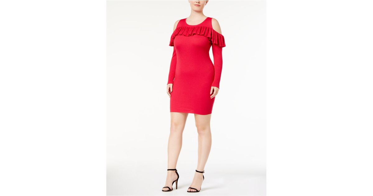 Lyst Say What Trendy Plus Size Cold Shoulder Sweater Dress In Red