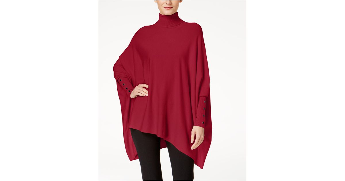 Alfani Petite Turtleneck Poncho Sweater in Red | Lyst