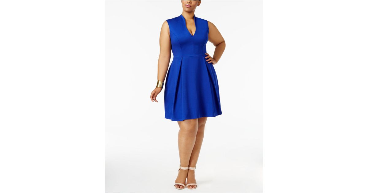 Lyst Soprano Trendy Plus Size Pleated Fit Flare Dress In Blue