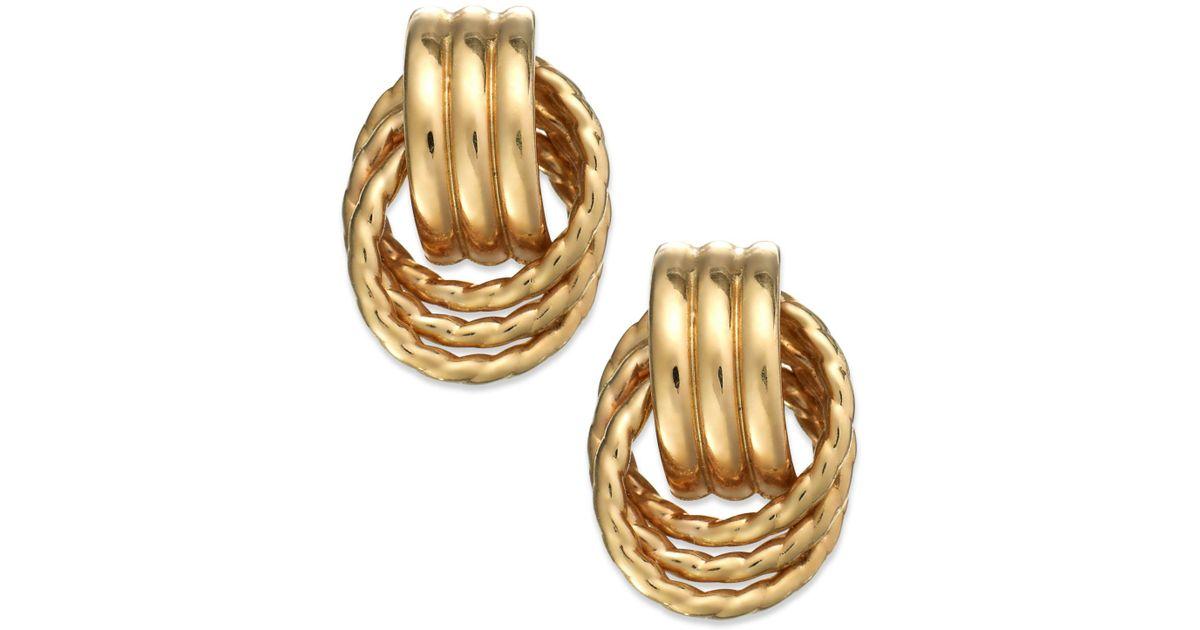 3936c3a65b0a Lyst Y S 14k Gold Door Knocker Earrings In Metallic