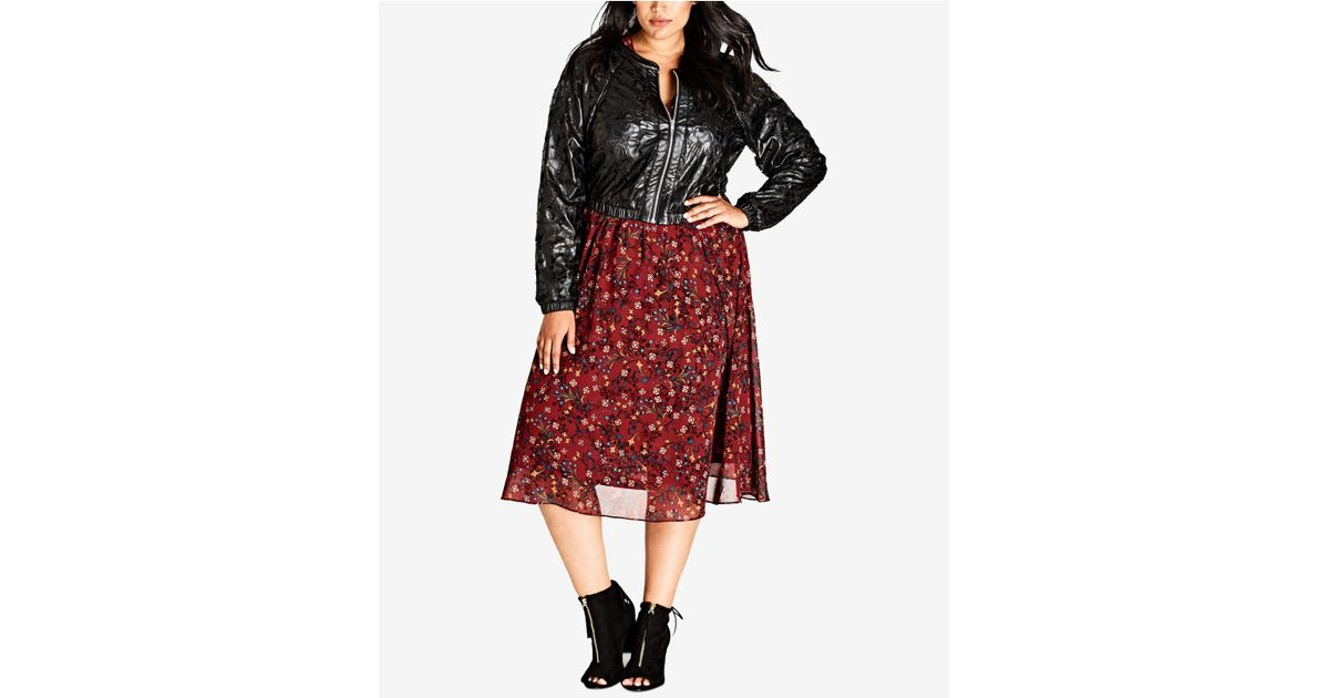 7ba97ec8fdd Lyst - City Chic Trendy Plus Size Faux-leather Lace Cropped Bomber Jacket  in Black