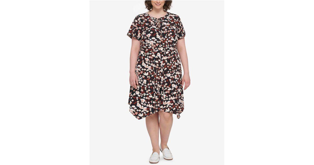 Lyst Tommy Hilfiger Plus Size Floral Print Peasant Dress In Black