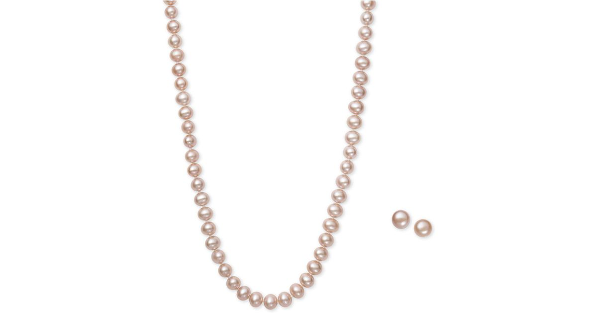 8c994fc4f2 Lyst - Macy's Pink Cultured Freshwater Pearl (6mm) Necklace And Matching  Stud (7-1/2mm) Earrings Set in Metallic