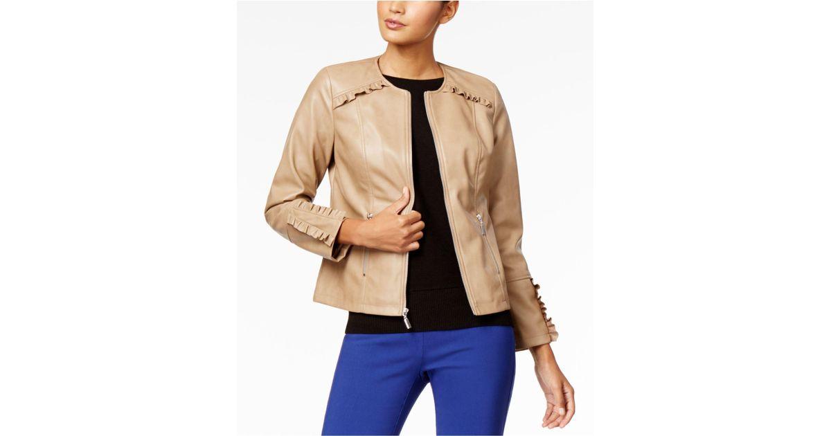 3ca9190f4d5 Lyst - Alfani Ruffled-trim Faux-leather Jacket in Natural