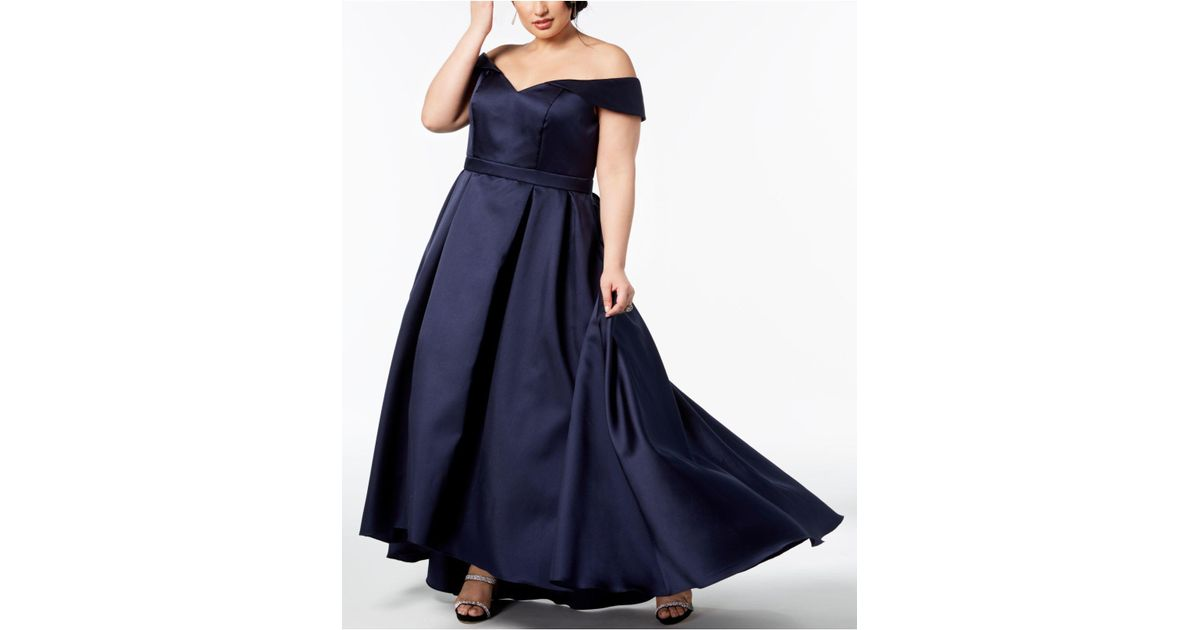c01732078666c Lyst - Xscape Plus Size Off-the-shoulder Gown in Blue