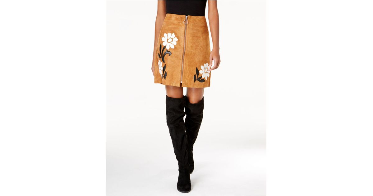 Lyst inc international concepts suede appliqué mini skirt in brown