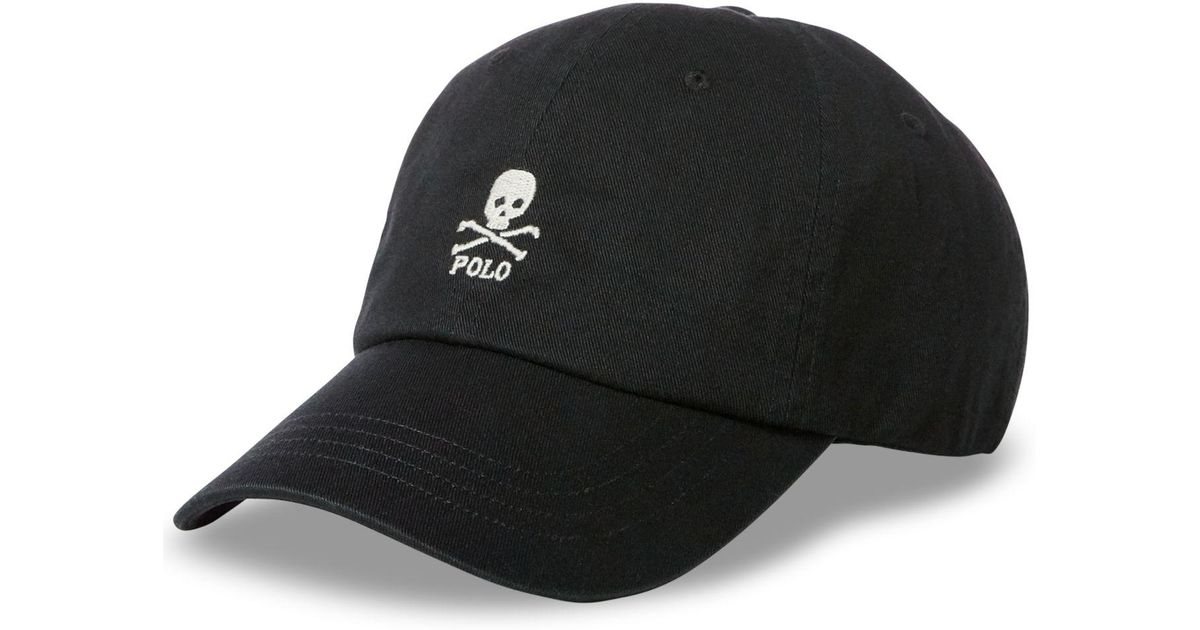e3c98317ea Polo Ralph Lauren Embroidered Skull Baseball Cap in Black for Men - Lyst