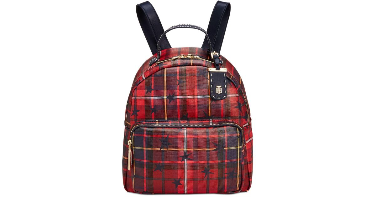 Lyst - Tommy Hilfiger Julia Star Plaid Small Backpack in Red 4450a344f2fbe