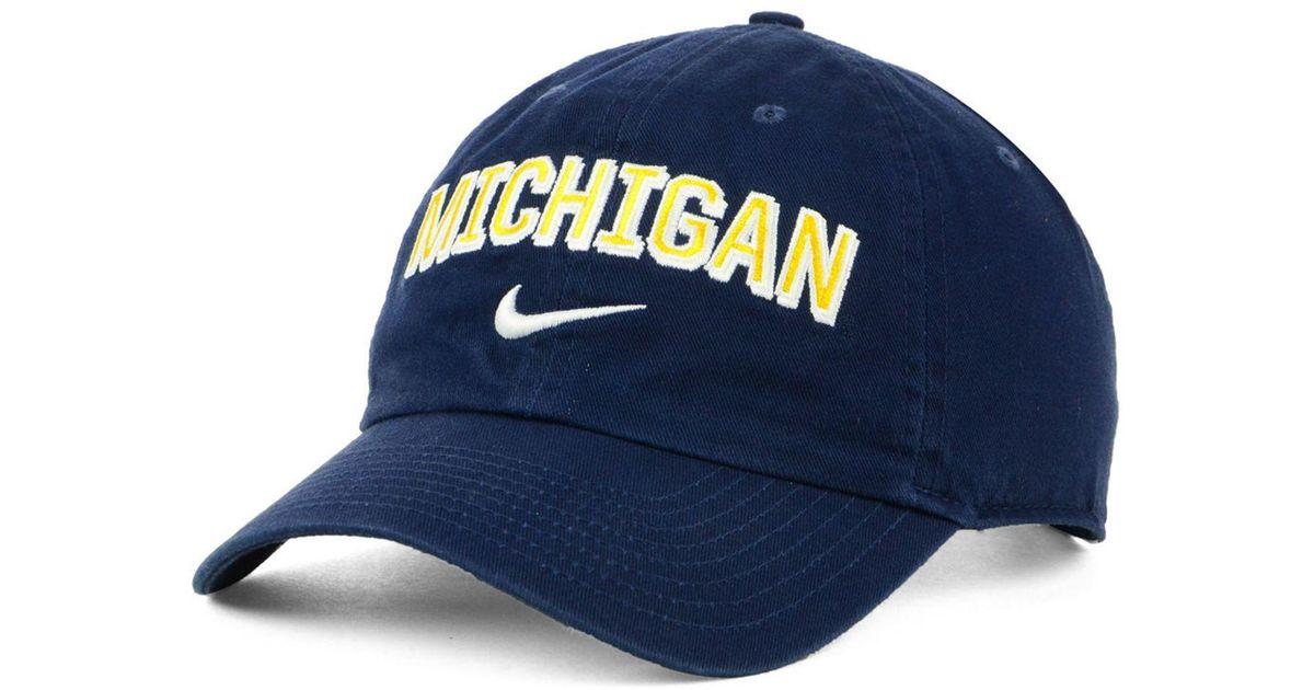 quality design 254be 71bb1 Nike Michigan Wolverines H86 Wordmark Swoosh Cap in Blue for Men - Lyst