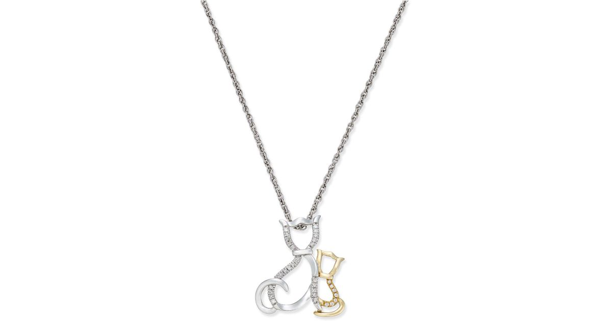 Macys metallic diamond family cat pendant necklace 110 ct tw in sterling silver and 14k gold cat lyst lyst macys diamond family cat pendant necklace 110 ct tw in sterling silver and 14k gold cat in metallic aloadofball Images