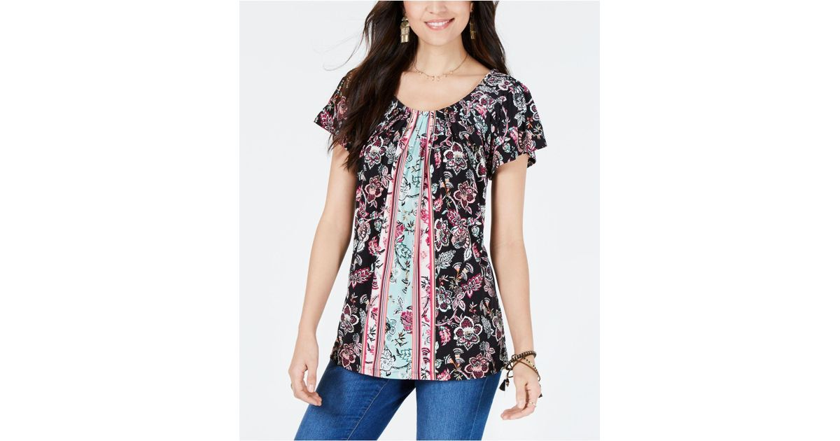 76db6567ebc Lyst - Style & Co. Pleated-neck Floral-print Top, Created For Macy's in  Black