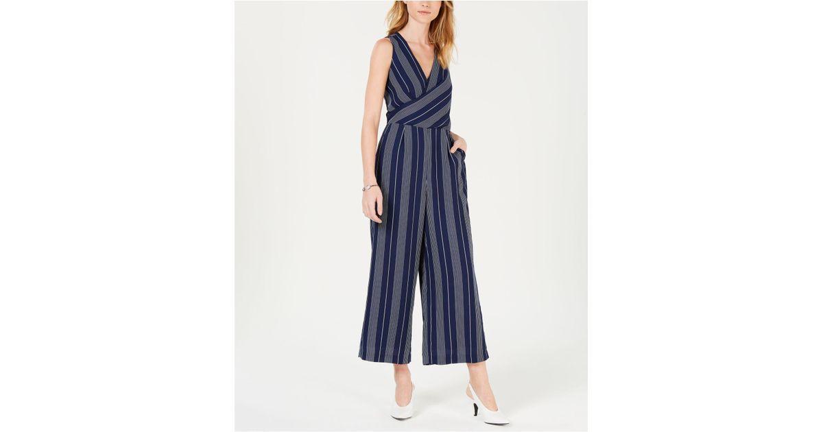 46fdd5d8e6a Lyst - Maison Jules Wrap-front Striped Cropped Jumpsuit