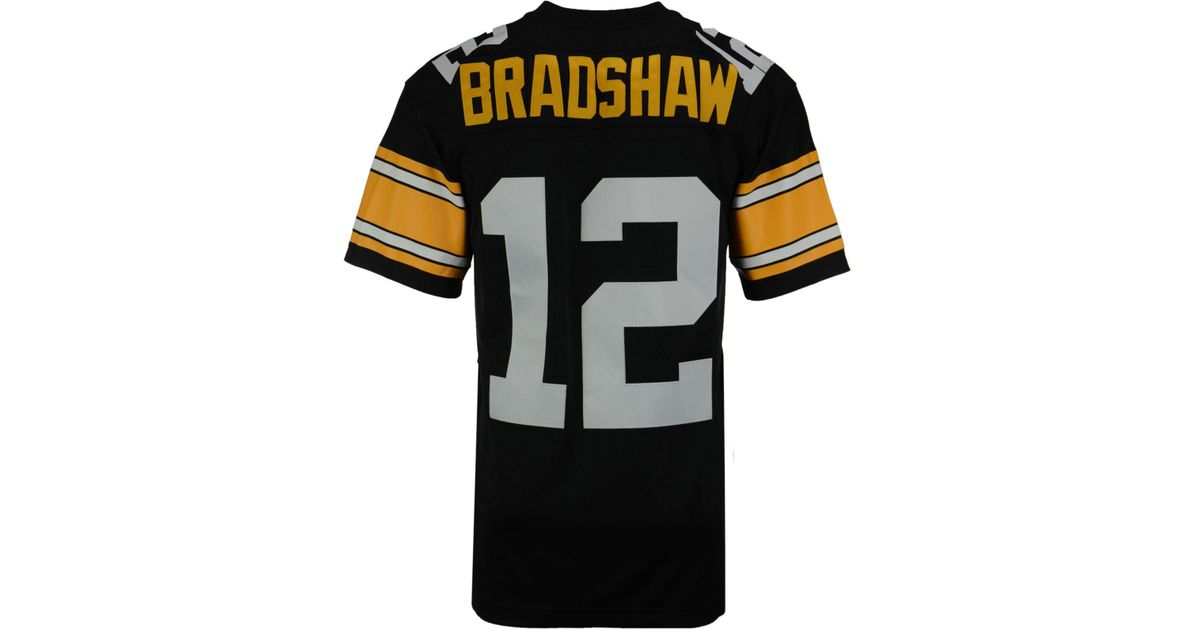 3fc28aaedff Lyst - Mitchell   Ness Men s Terry Bradshaw Pittsburgh Steelers Replica Throwback  Jersey in Black for Men