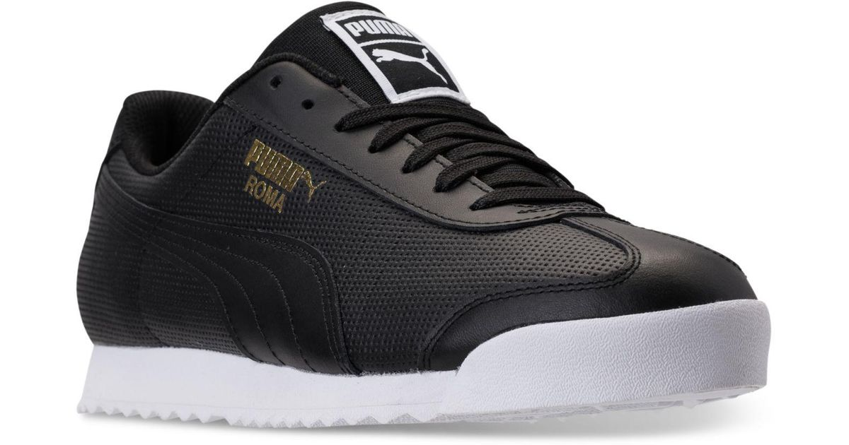 d7f2f2716236 Lyst - PUMA Men s Roma Classic Perf Casual Sneakers From Finish Line in  Black for Men