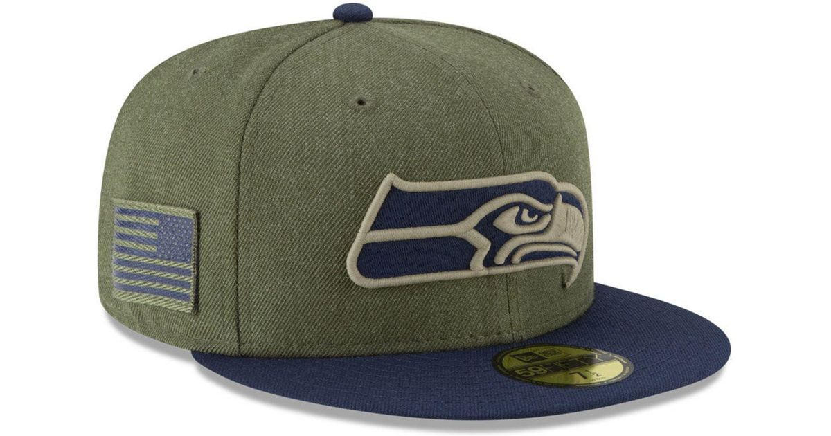 huge discount 6627a fcb9e Lyst - KTZ Seattle Seahawks Salute To Service 59fifty Fitted Cap in Green  for Men
