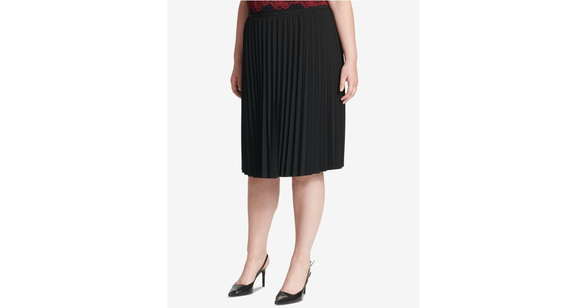 3d57750e0c Lyst - Calvin Klein Plus Size Pleated A-line Skirt in Black