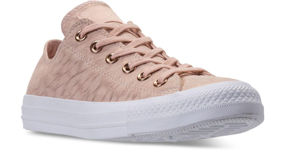 Lyst - Converse Women s Chuck Taylor Ox Shimmer Casual Sneakers From Finish  Line in Pink 9a6da368c