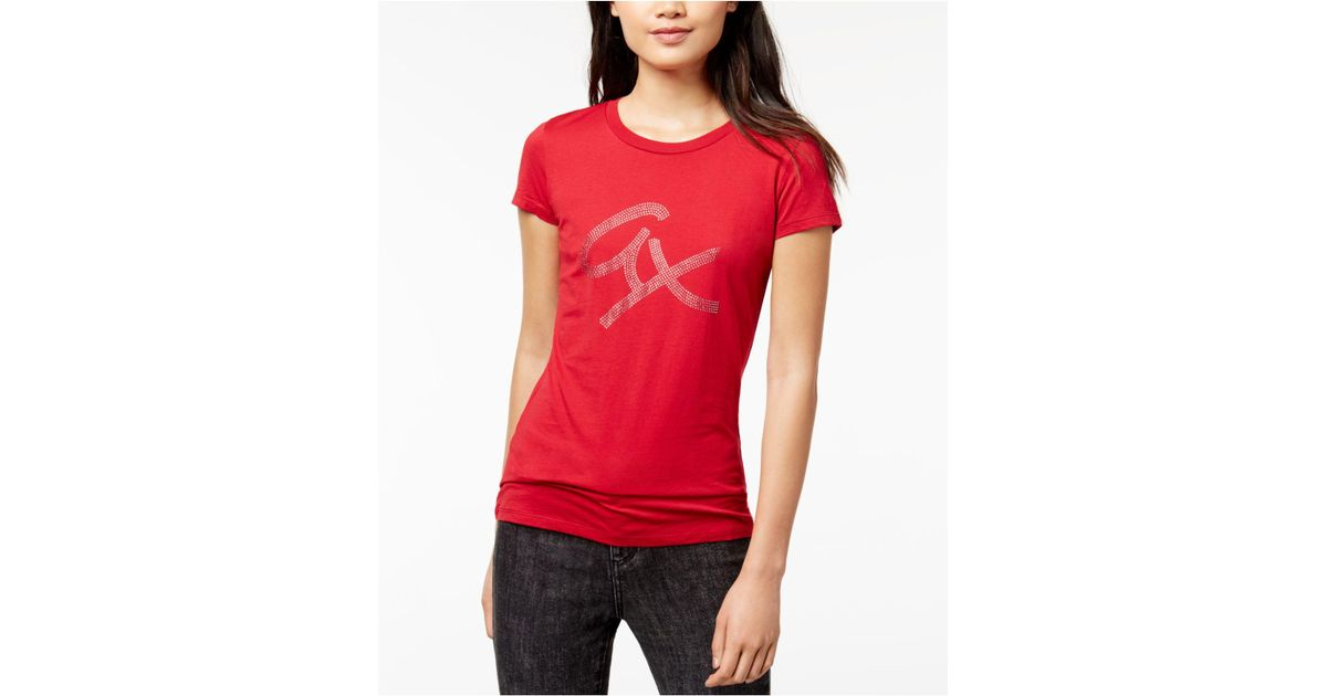 d18817ee3 Lyst - Armani Exchange Cotton Rhinestone-graphic T-shirt in Red