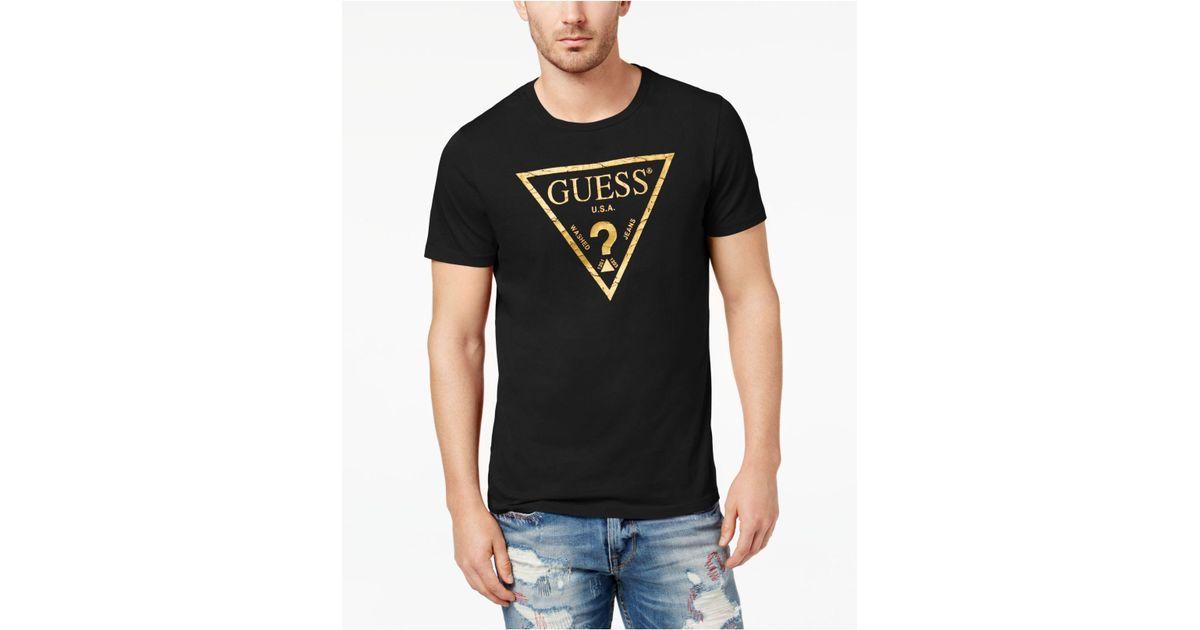 e6ad9011d64d Guess Men's Classic Triangle Metallic Logo-print T-shirt in Black for Men -  Lyst