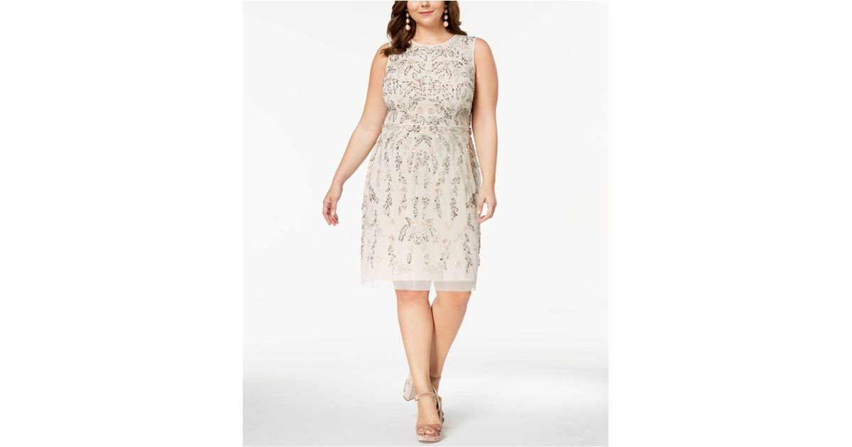 Lyst Adrianna Papell Plus Size Floral Beaded Dress In White