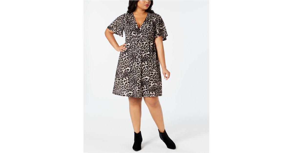 d936202803256 Soprano Plus Size Cheetah-print Wrap Dress in Gray - Lyst