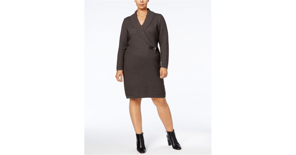 d93913b2375 Calvin Klein Plus Size Shawl Collar Faux-wrap Sweater Dress in Gray - Lyst
