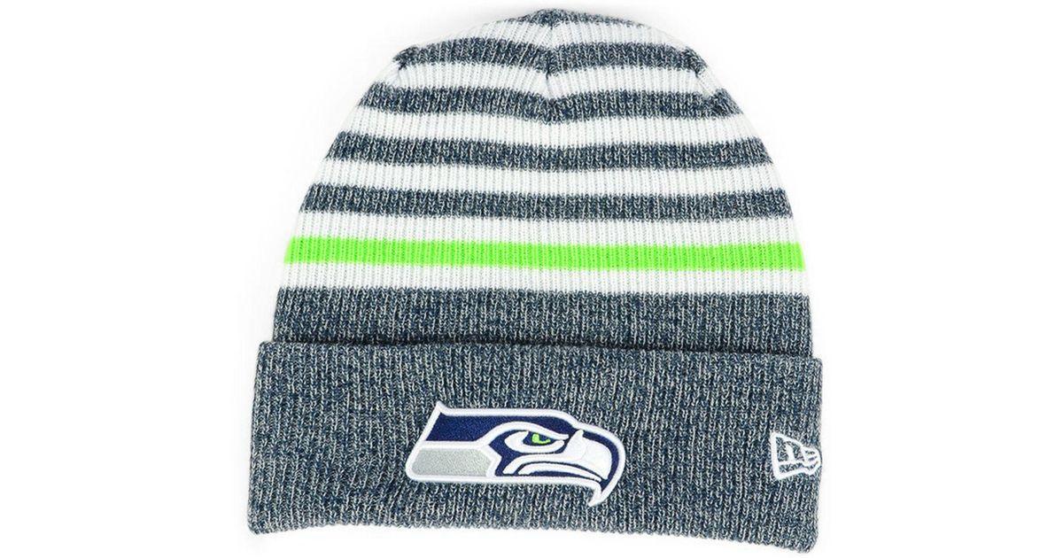 ee95ac7271831 Lyst - KTZ Seattle Seahawks Striped2 Cuff Knit Hat in Blue for Men