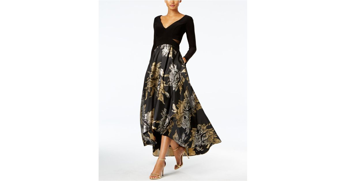 be35cc7b Xscape High-low Brocade Gown in Black - Lyst