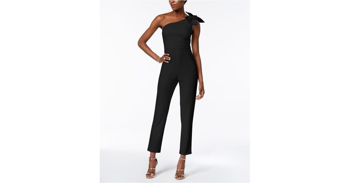 fe90bbe3d6c3 Lyst - Adrianna Papell One-shoulder Jumpsuit in Black