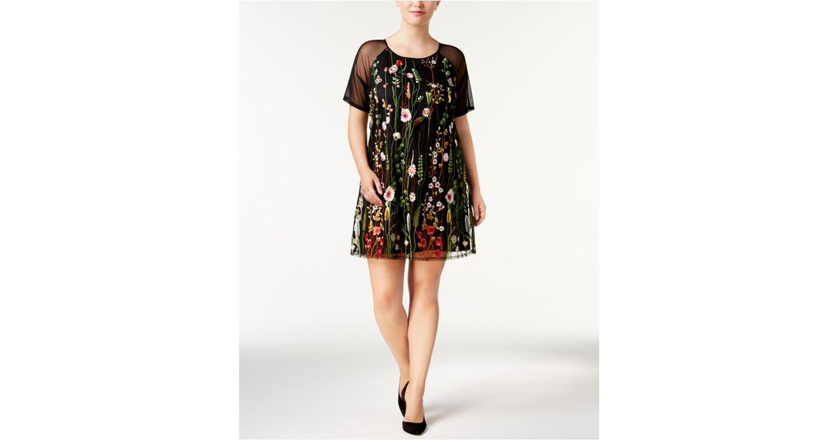 Say What? Trendy Plus Size Embroidered Illusion Dress in Black - Lyst