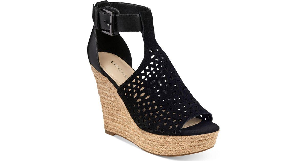 442f5cab1bb Lyst - Marc Fisher Hasina T-strap Platform Wedge Sandals in Black