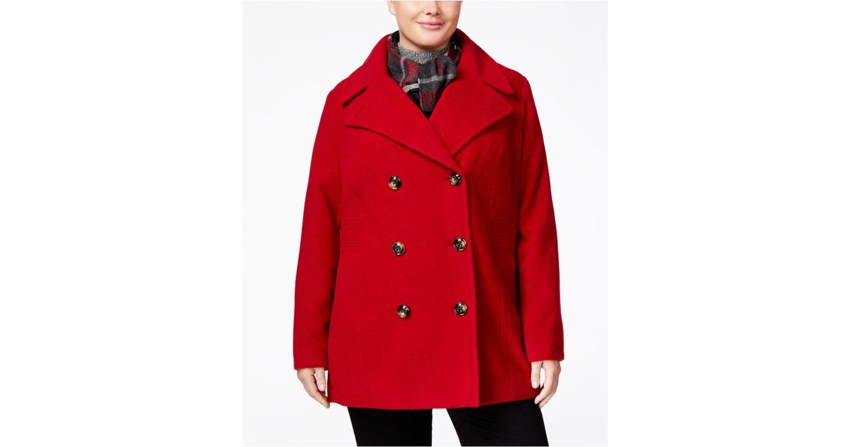 a3bec37a0cf Forever 21 Plus Size Classic Pea Coat In Red Lyst