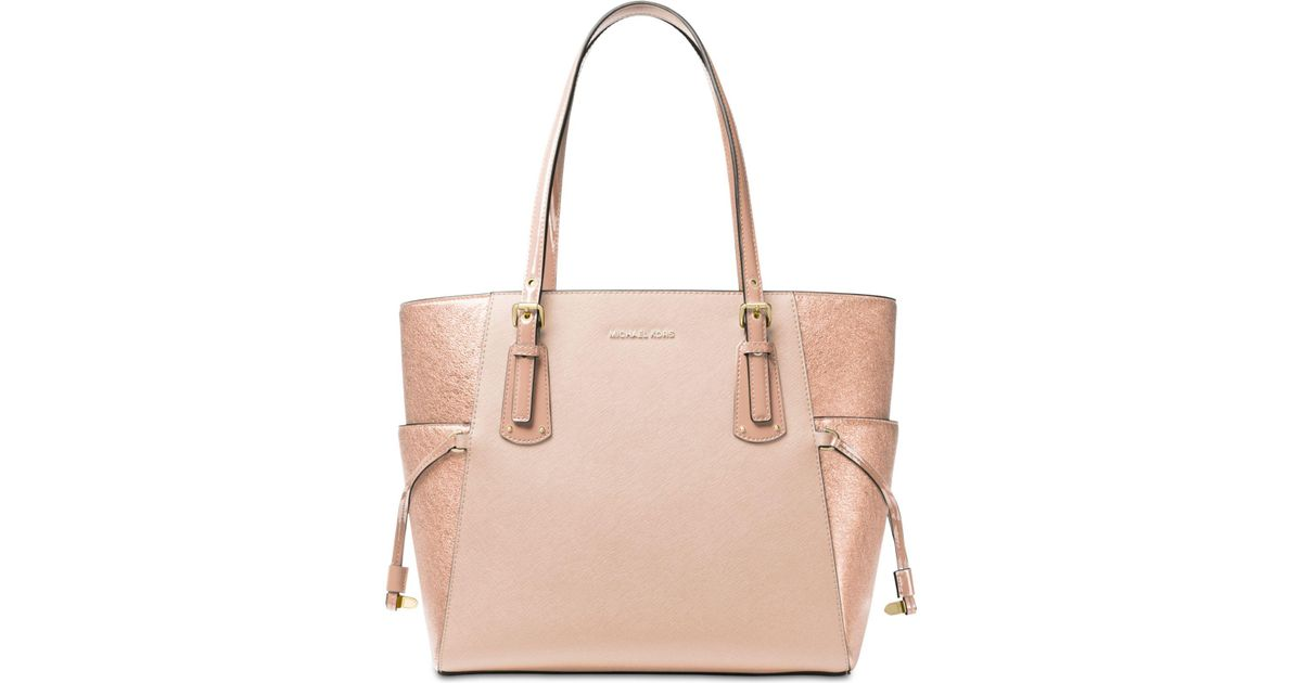 9186c2d4ec71 Michael Kors Voyager East West Signature Tote in Pink - Lyst