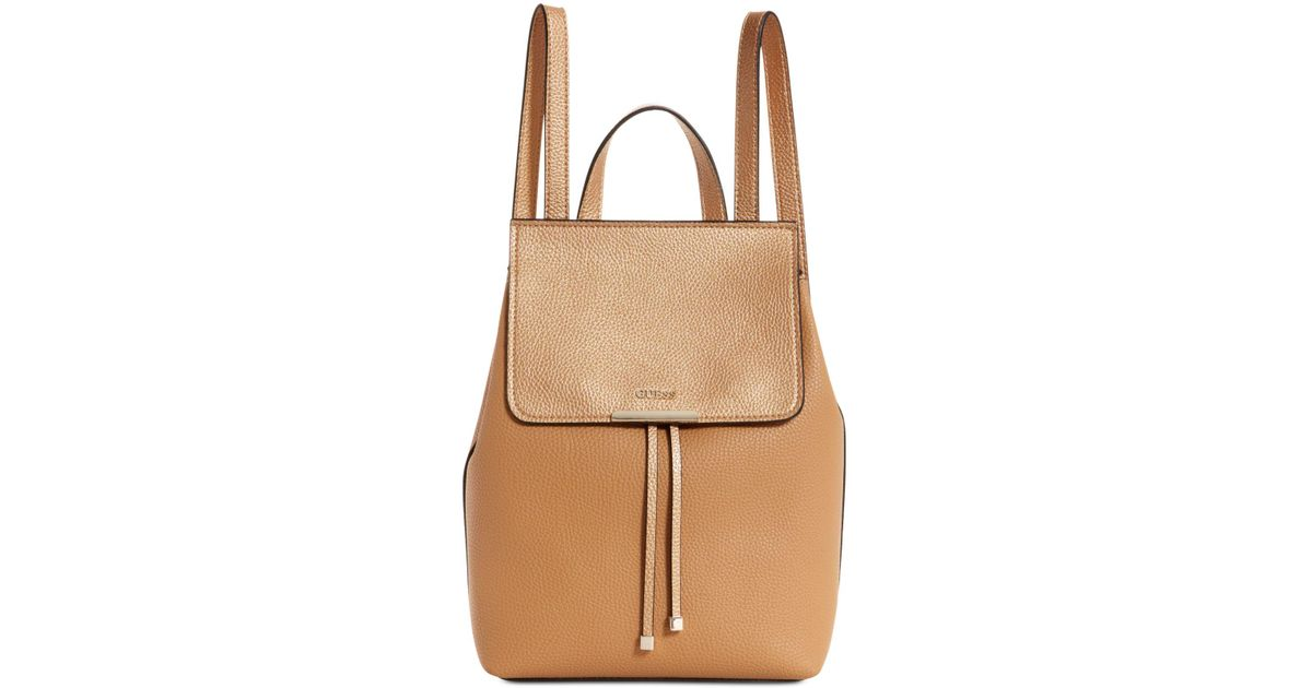 e7660e1489 Lyst - Guess Varsity Pop Mini Backpack in Brown