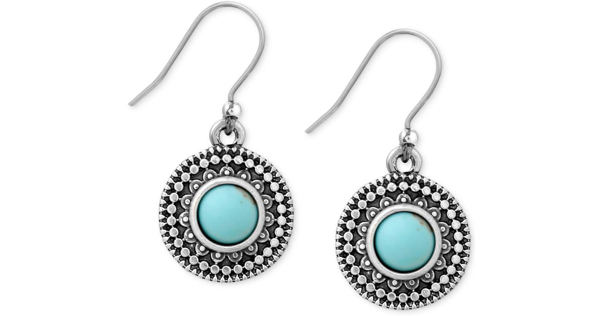 b21dbbb28 Lyst - Lucky Brand Silver-tone Reconstituted Turquoise Drop Earrings in Blue