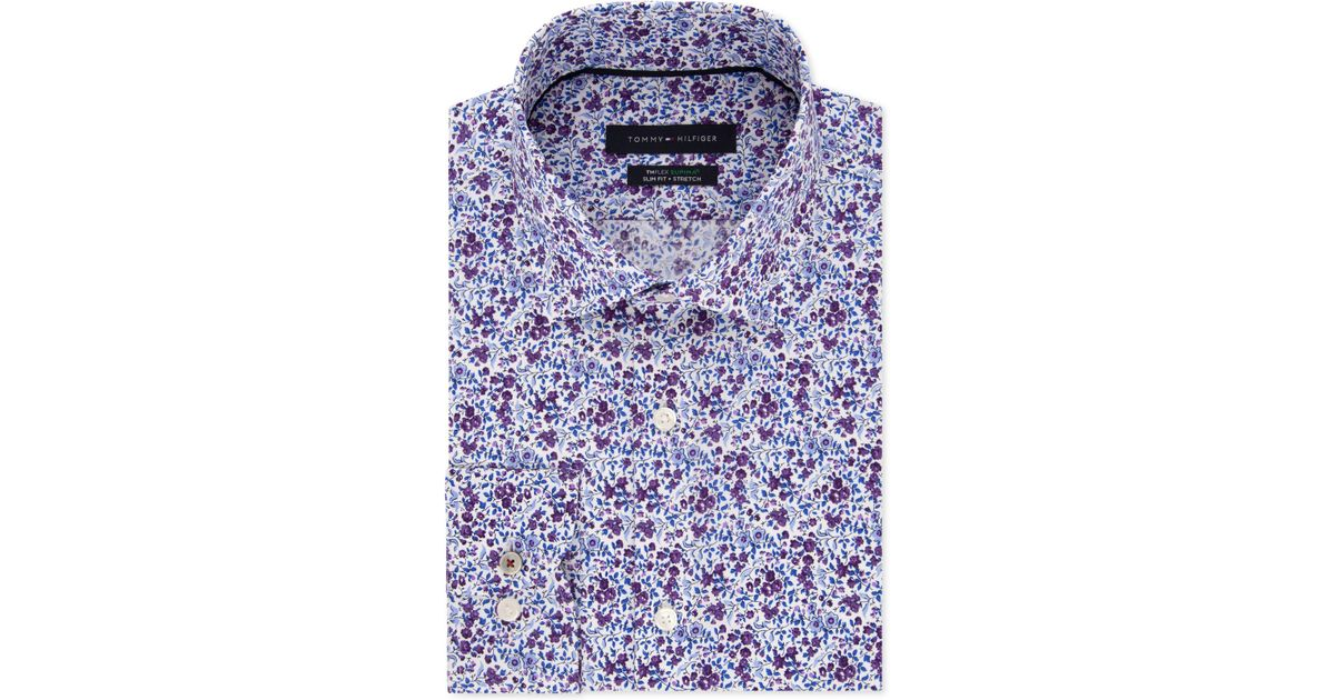 110718b0a Tommy Hilfiger Slim-fit Th Flex Non-iron Supima Stretch Floral Dress Shirt  in Purple for Men - Lyst