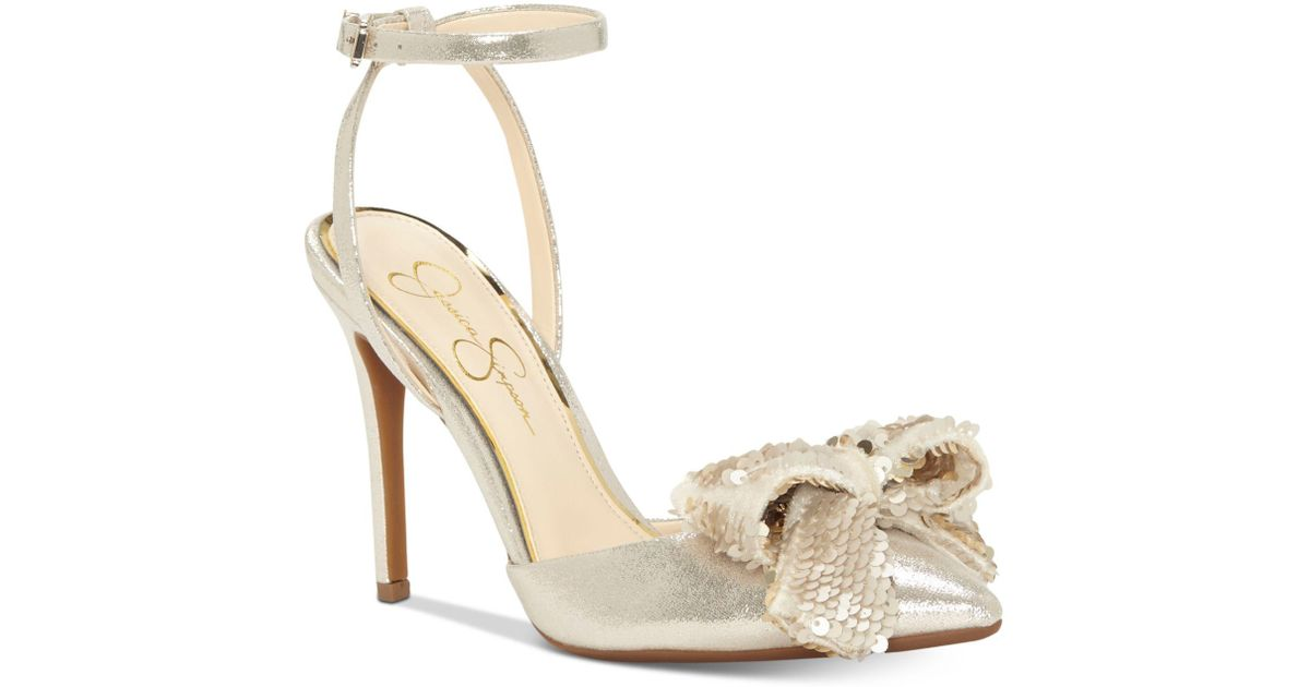 Jessica Simpson Pearlanna Metallic Sequin Bow Dress Sandals