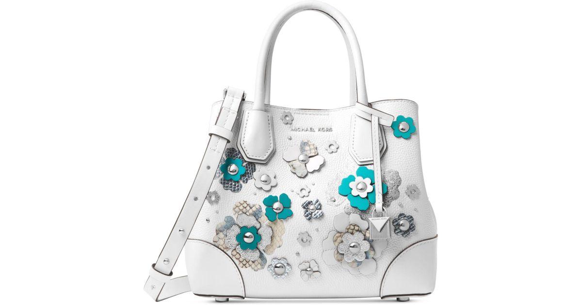 94d0fb094b6552 ... australia michael kors michael mercer gallery small floral embellished  satchel in white lyst 05e46 37f85 discount crossbody ...