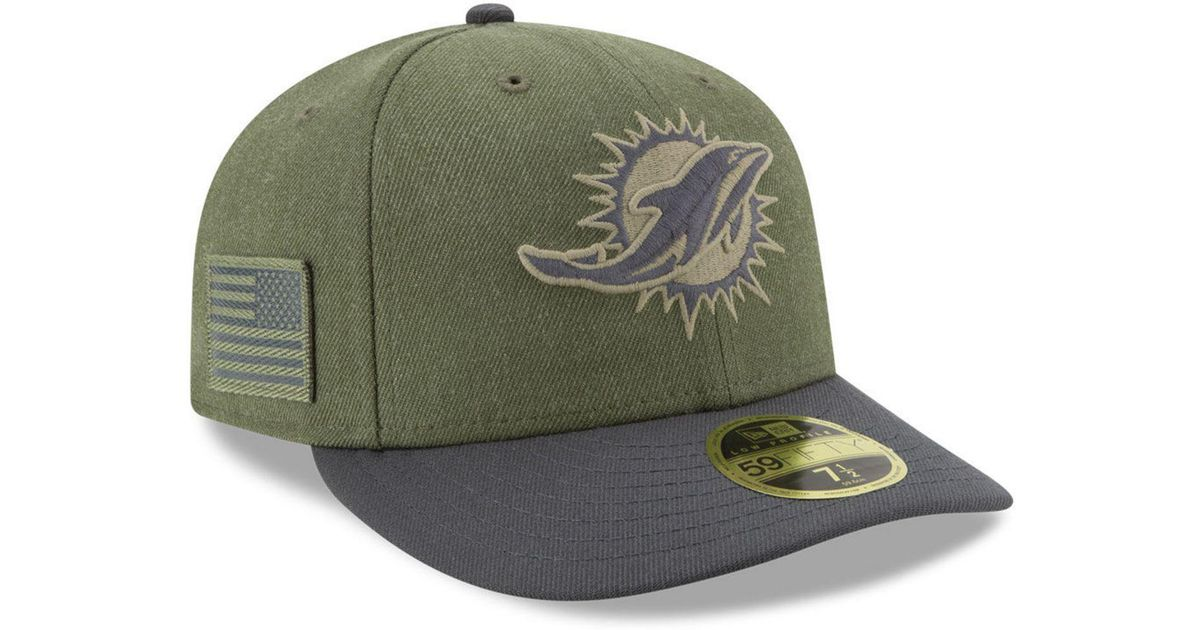 8402ea22402 Lyst - KTZ Miami Dolphins Salute To Service Low Profile 59fifty Fitted Cap 2018  in Green for Men