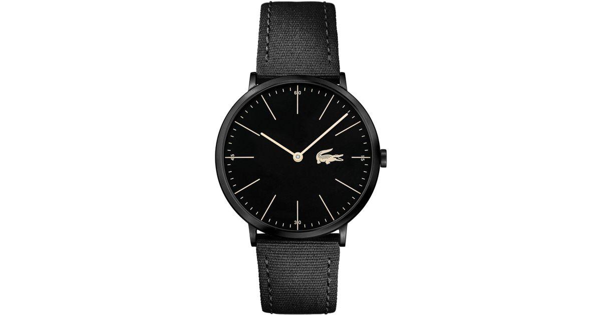 2f357759c626a Lyst - Lacoste Men s Moon Ultra Slim Black Nylon Strap Watch 40mm in Black  for Men
