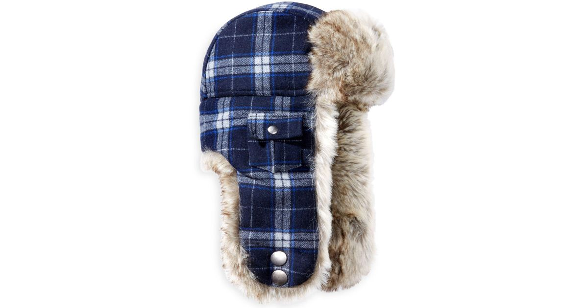 b80bc89e649 Lyst - Woolrich Plaid Arctic Trapper Hat With Faux-fur Earflaps in Blue for  Men