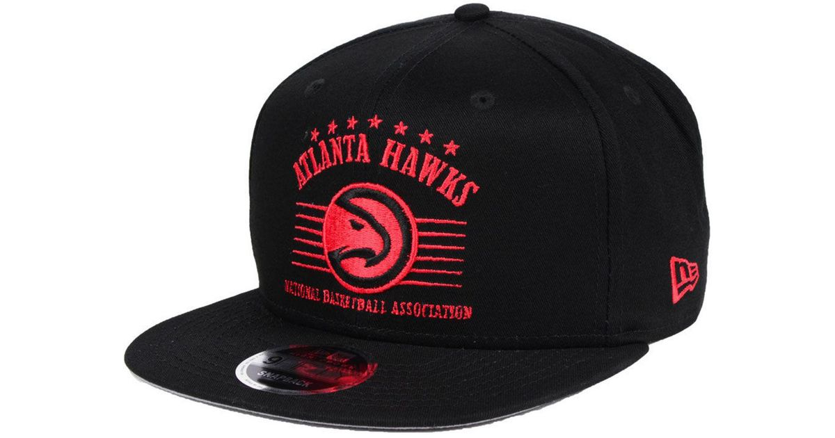 save off 49216 6a7a7 KTZ Atlanta Hawks Retro Arch 9fifty Snapback Cap in Black for Men - Lyst