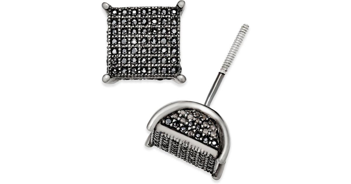 74c6baf99 Lyst - Macy's Men's Diamond Square Cluster Stud Earrings (3/4 Ct. T.w.) In  Sterling Silver in Metallic