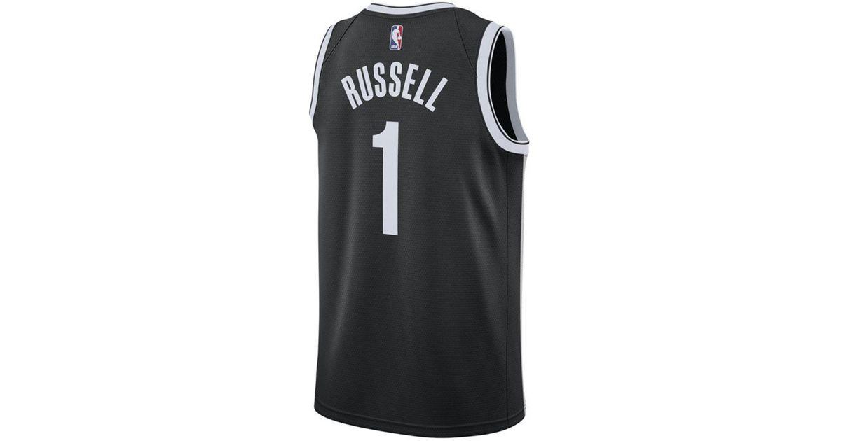 6a2bae9381f Nike D'angelo Russell Brooklyn Nets Icon Swingman Jersey in Black for Men -  Lyst