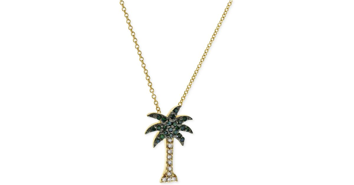 Lyst effy collection green and white diamond palm tree necklace 1 lyst effy collection green and white diamond palm tree necklace 110 ct tw in 14k gold in green aloadofball Images